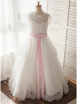 A-Line/Princess Floor-length Flower Girl Dress - Tulle/Lace Short Sleeves Scoop Neck With Lace/Sash