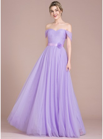 A-Line/Princess Off-the-Shoulder Floor-Length Tulle Prom Dress With Ruffle Flower(s)