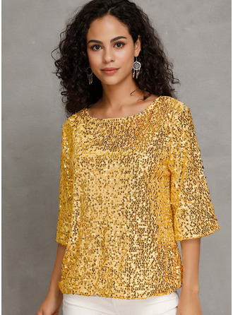 Sequins Round Neck 3/4 Sleeves Casual