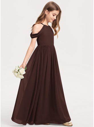 Corte A Decote redondo Longos Tecido de seda Vestido de daminha júnior com Pregueado