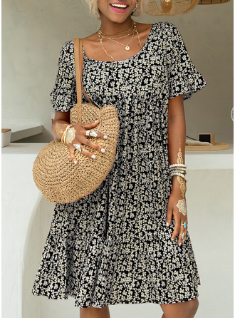 Floral Print Shift 1/2 Sleeves Midi Casual Vacation Dresses