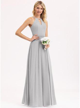 Трапеция Круглый Длина до пола шифон Платье Подружки Невесты