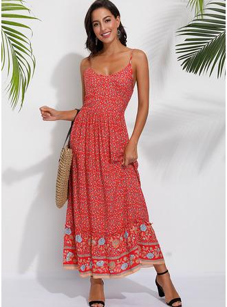 Maxi Spaghetti Straps Polyester Print Sleeveless Fashion Dresses