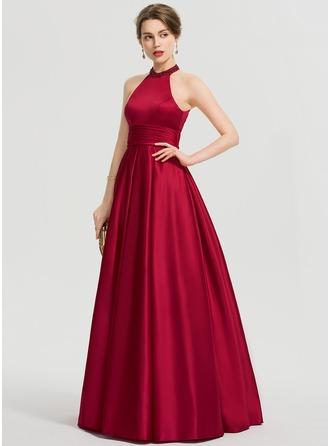De Baile/Princess Decote redondo Longos Cetim Vestido de baile com Pregueado Beading lantejoulas
