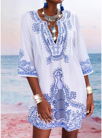 Print Shift 3/4 Sleeves Mini Casual Vacation Tunic Dresses