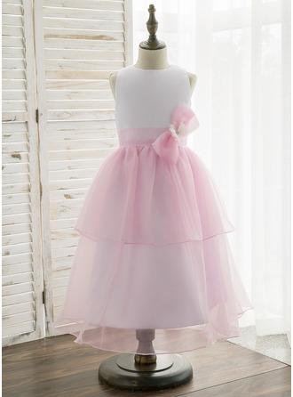 A-Line/Princess Tea-length Flower Girl Dress - Organza/Satin Sleeveless Scoop Neck With Bow(s)