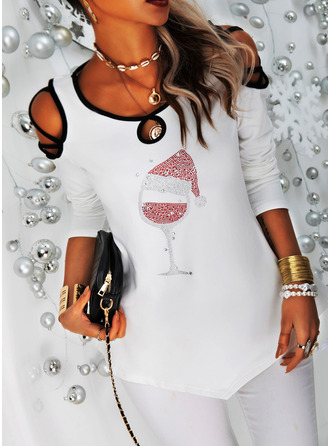 Sequins Cold Shoulder Long Sleeves Casual Christmas Blouses