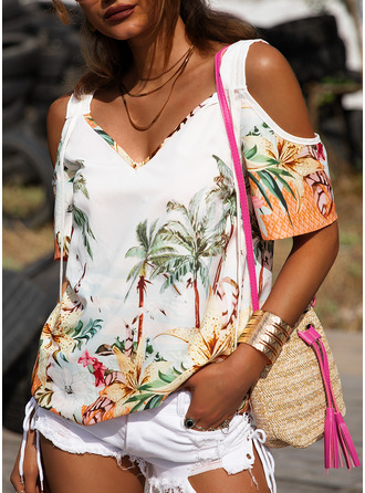 Floral Print Cold Shoulder Short Sleeves Casual Blouses