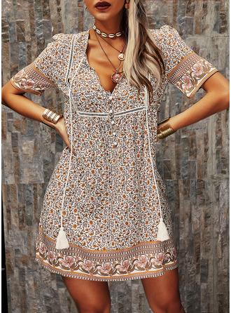 Floral Print Shift Short Sleeves Midi Boho Casual Vacation Tunic Dresses