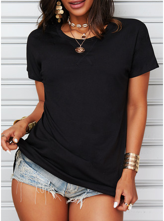 Solid Round Neck Short Sleeves Basic Casual T-shirt