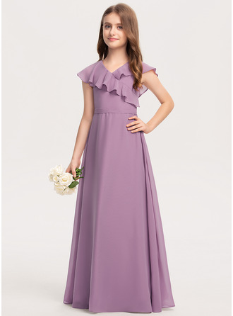 A-Linie V-Ausschnitt Bodenlang Chiffon Kleid für junge Brautjungfern mit Schleife(n) Gestufte Rüschen