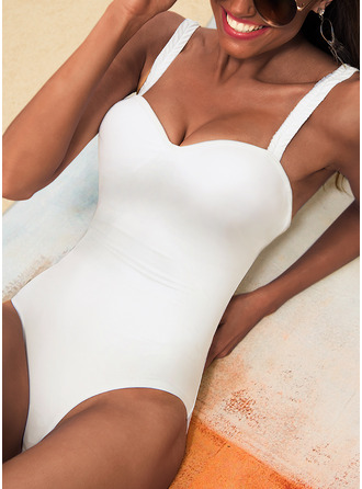 One-piece Polyester Nylon Solid Color Women's Yes Swimwear