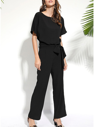 Solid Shift Short Sleeves Maxi Casual Jumpsuits Dresses
