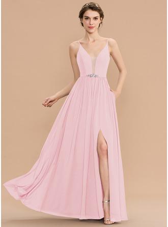 A-Linie V-Ausschnitt Bodenlang Chiffon Brautjungfernkleid mit Perlstickerei Pailletten Schlitz Vorn Taschen