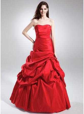 A-Linie/Princess-Linie Herzausschnitt Bodenlang Taft Quinceañera Kleid (Kleid für die Geburtstagsfeier) mit Rüschen