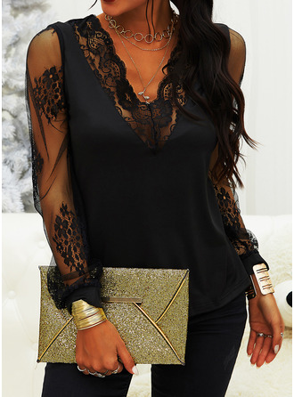 Lace V-Neck Long Sleeves Casual Blouses