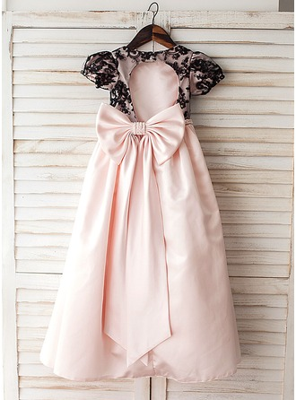 A-Line/Princess Floor-length Flower Girl Dress - Satin/Lace Short Sleeves Scoop Neck With Bow(s)/Back Hole