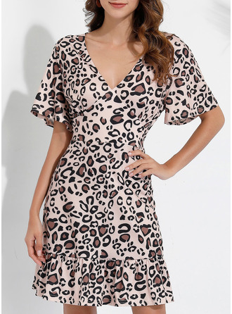 Leopard A-line Short Sleeves Mini Casual Dresses