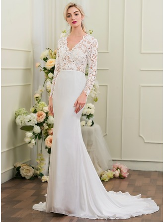 Trumpet/Mermaid V-neck Chapel Train Chiffon Wedding Dress