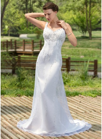 Trumpet/Mermaid Sweetheart Court Train Satin Organza Wedding Dress With Beading Sequins