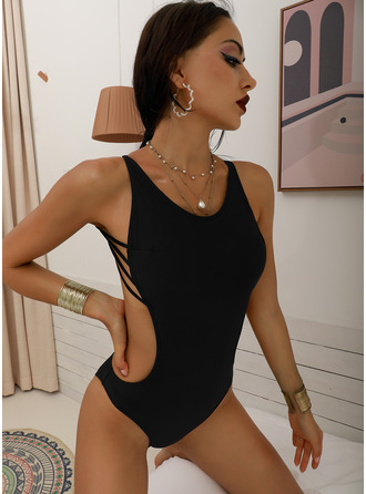 One-piece Spandex Lycra Solid Color String High Cut Women's No Swimwear