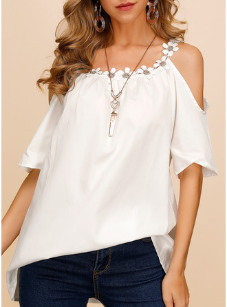 Solid Cold Shoulder Short Sleeves Casual