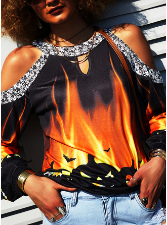 Print Sequins Cold Shoulder Long Sleeves Halloween Casual Blouses