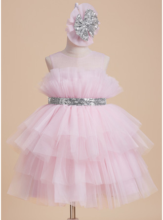 Ball-Gown/Princess Scoop Neck Knee-length With Sequins/Bow(s) Tulle Flower Girl Dress