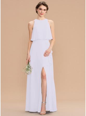 Corte A Decote redondo Longos Tecido de seda Vestido de madrinha com Frente aberta Babados em cascata