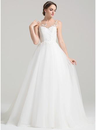 De baile Decote redondo Sweep/Brush trem Tule Vestido de noiva com Pregueado Apliques de Renda