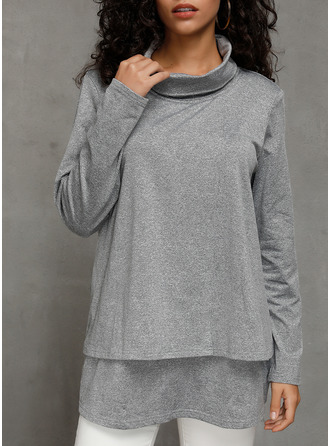 Solid High Neck Long Sleeves Casual