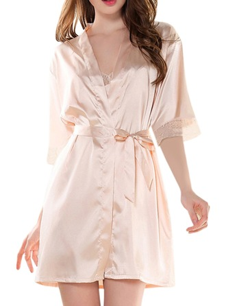 Bride Bridesmaid Satin Lace With Short Satin & Lace Robes