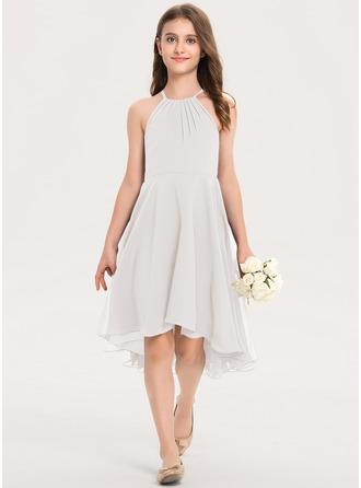 A-Linie U-Ausschnitt Asymmetrisch Chiffon Kleid für junge Brautjungfern mit Rüschen