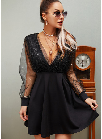 Sequins Solid A-line Long Sleeves Mini Little Black Party Skater Dresses