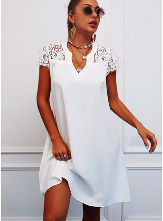 Lace Solid Hollow-out Shift Short Sleeves Mini Casual Tunic Dresses