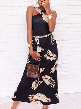 Color Block Print A-line Sleeveless Maxi Casual Vacation Skater Dresses