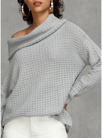 One Shoulder Casual Solid Waffle Knit Sweaters