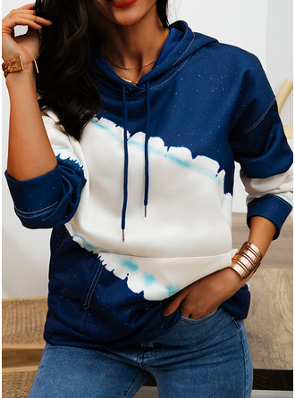 Color Block Hoodie Long Sleeves Casual Blouses