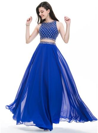 Corte A/Princesa Escote redondo Hasta el suelo Gasa Vestido de baile de promoción con Cuentas Lentejuelas