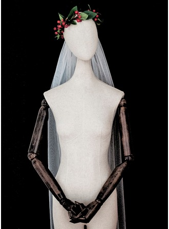 One-tier Cut Edge Elbow Bridal Veils