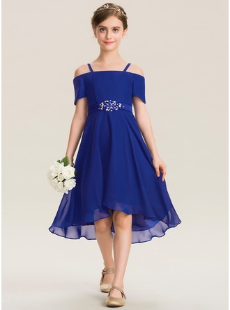 A-Line Square Neckline Asymmetrical Chiffon Junior Bridesmaid Dress With Beading Bow(s)