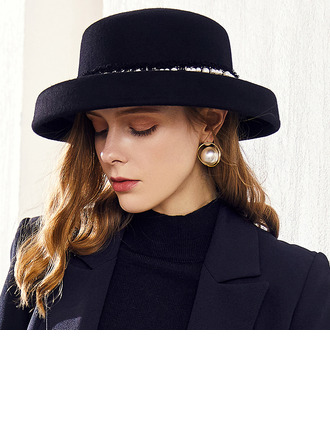 Ladies' Classic/Simple/Pretty/High Quality Wool With Imitation Pearls Floppy Hats