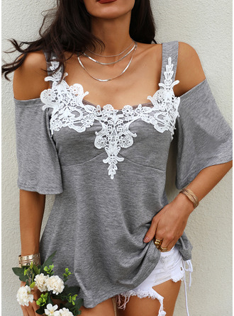Lace Solid Cold Shoulder 1/2 Sleeves Casual