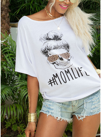 Print 3/4 Sleeves Polyester One Shoulder T-shirt Blouses