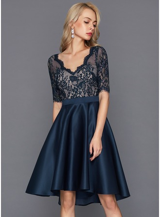 A-Line/Princess V-neck Asymmetrical Satin Cocktail Dress