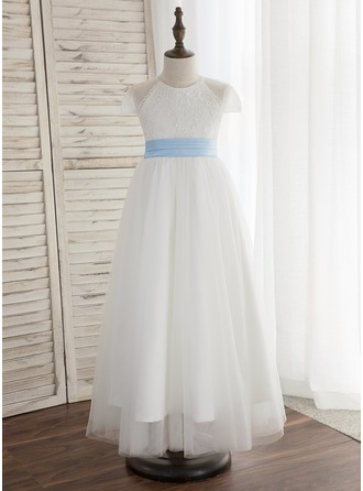 A-Line/Princess Ankle-length Flower Girl Dress - Tulle/Lace Sleeveless Scoop Neck With Pleated (Undetachable sash)