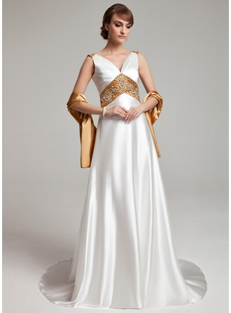 A-formet/Prinsesse V-hals Sweep/Børste train Charmeuse Kjole til brudens mor med Bånd Perlebesydd