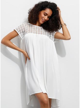 レース 固体 シフトドレス 半袖 ミニ カジュアル ファッションドレス