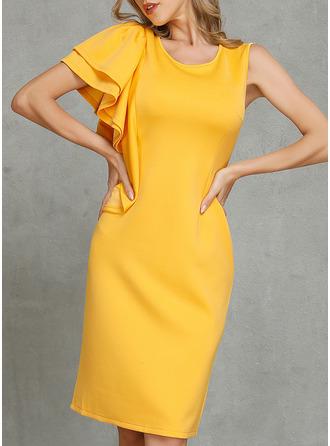 Solid Åtsittande Ärmlös Midi Fritids Elegant Penna Modeklänningar