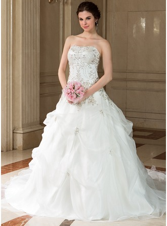 Ball-Gown Sweetheart Chapel Train Satin Organza Wedding Dress With Embroidered Beading Sequins